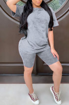 Gray Summer Colored cotton Short Sleeve Shorts Trendy Two-Pieces YYF8092