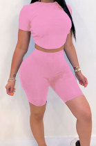 Pink Halteneck Lace-Up Shorts Short Sleeve Two-Pieces YYF8087