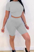 Gray Halteneck Lace-Up Shorts Short Sleeve Two-Pieces YYF8087