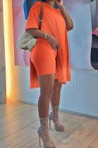 Orange Euramerican Women Gradual Change Loose Short Sleeve Two-Pieces AD1205