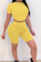 Yellow Halteneck Lace-Up Shorts Short Sleeve Two-Pieces YYF8087