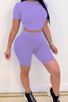 Purple Halteneck Lace-Up Shorts Short Sleeve Two-Pieces YYF8087