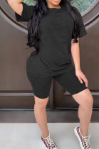 Black Summer Colored cotton Short Sleeve Shorts Trendy Two-Pieces YYF8092