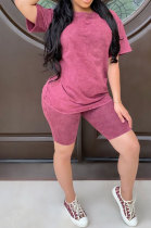 Pink Summer Colored cotton Short Sleeve Shorts Trendy Two-Pieces YYF8092