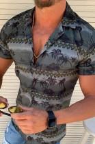 Black Man's Hawaiian Casual Beach Print Short Sleeve Shirt CMM29