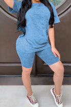 Blue Summer Colored cotton Short Sleeve Shorts Trendy Two-Pieces YYF8092