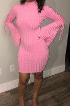 Pink Euramerican Women Spring Summer Bind Horn Sleeve Mini Dress AD1109