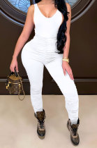 White Sleeveless Shirred Detail Sexy Haltenck Bodycon Jumpsuits WMZ2617