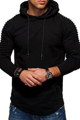 Black Winter Men's Long Slevee Casual A Hoodie With A Slubby Texture CMM02