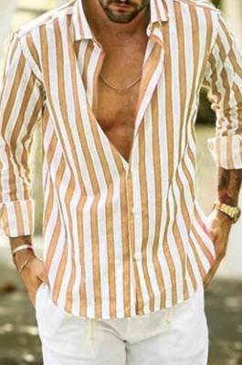 Yellow Digital Print Stripe Long Slevee Men's Casual Shirt CMM12