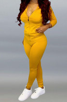 Yellow Pure Color Long Sleeve Zipper Hooded Coat Tight Pants Stets Q652