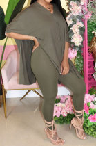 Army Green Euramerican Womenswear Pure Color Slotting V Neck Two-Pieces Q610