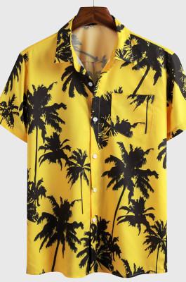 Yellow Casual Top Sandbeach Coconut Trees Print Shirt CMM1146