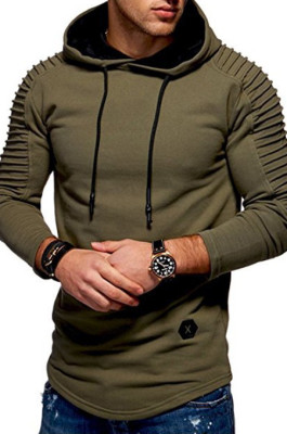 Army Green Winter Men's Long Slevee Casual A Hoodie With A Slubby Texture CMM02
