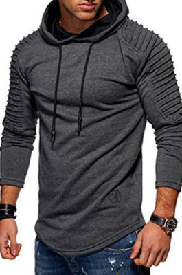 Dark Gray Winter Men's Long Slevee Casual A Hoodie With A Slubby Texture CMM02