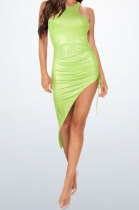 Neon Green Bling Bling Shirred Detail Cultivate One's Morality Irregularity Club Mini Dress WMZ2618