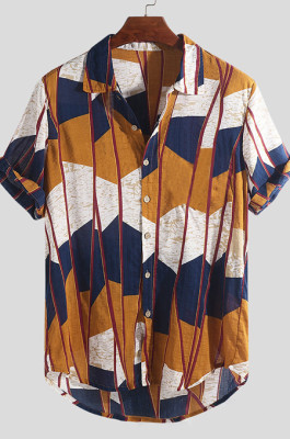 Camouflage Yellow Men's Short Slevee Hawaii Sandbeach Colorful Geometry Stripe Shirt CMM22