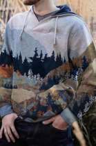 Autumn And Winter Forest Print Men's Casual Hooded CMM31