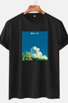 Black Casual Print Round Collar Short Slevee Loose T-Shirt CMM041