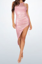 Pink Red Bling Bling Shirred Detail Cultivate One's Morality Irregularity Club Mini Dress WMZ2618