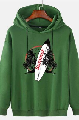 Green Men's Autumn And Winter Casual Summer Surfboard Hooded CMM115