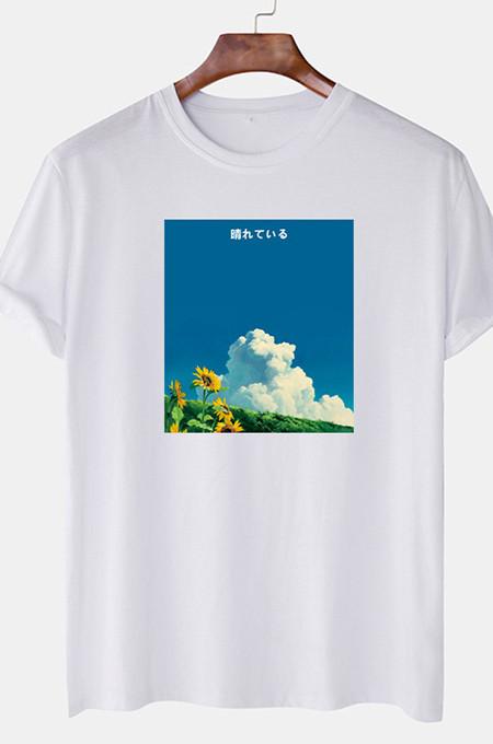 White Casual Print Round Collar Short Slevee Loose T-Shirt CMM041