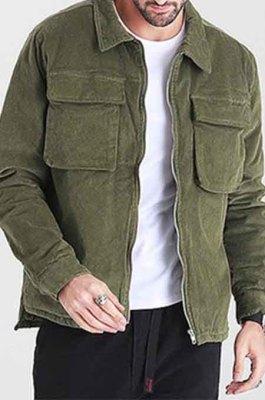 Green Restoring Ancient Ways Corduroy Casual Short Coat CMM23