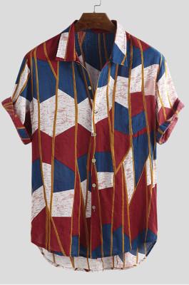 Camouflage Red Men's Short Slevee Hawaii Sandbeach Colorful Geometry Stripe Shirt CMM22