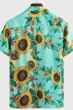 Green Summer Hawaii Short Slevee Print Loose Casual Shirt CMM1227