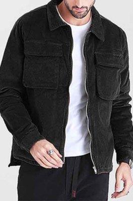 Black Restoring Ancient Ways Corduroy Casual Short Coat CMM23