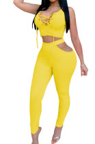 Yellow Euramerican Trendy Hollow Out Lace-Up Sexy Two-Pieces XZ3574