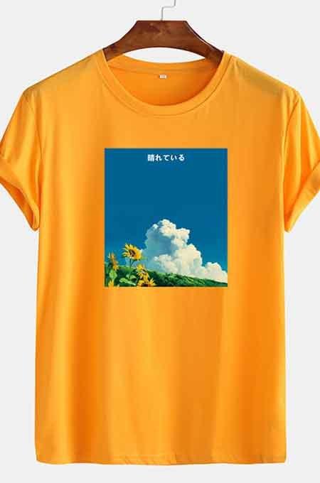 Yellow Casual Print Round Collar Short Slevee Loose T-Shirt CMM041