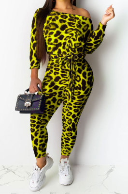 Lemon Yellow Sexy Leopard Womenswear Boat Neck Casual Jumpsuit NYY6060