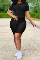 Black Pineapple Cloth Sports Ieisure Yoge Shorts Two-Piece QQM4204