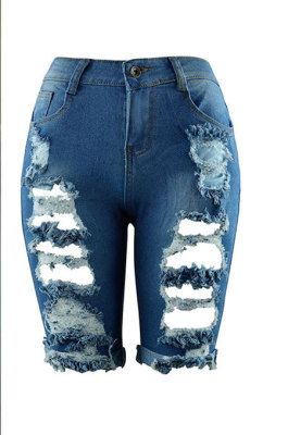 Blue Personality Hole Jeans Fifth Pants CF8851