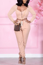 Apricot Pink Cardigan Zipper Prue Color Casual Two-Piece SQ932