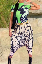 Green Fashion Casual Loose Pants Print Two-Piece QSS5019