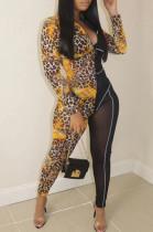 Leopard Print Fashion Sexy Night Clud Net Yarn Print Jumpsuits QSS5023