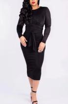 Black Silver Fox Wool Bind Casual Dresses QSS5003