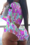 Light Pink Euremerican Women Sleepwear Home Wear Multi Printing Romper Shorts Q765