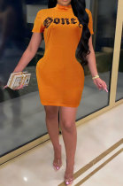 Orange Cultivate One's Morality Sexy Letter Printing Round Neck Mini Dress LD8821
