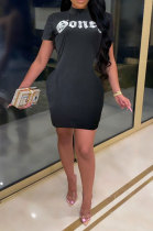 Black Cultivate One's Morality Sexy Letter Printing Round Neck Mini Dress LD8821