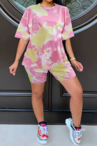 Pink Summer Women Printing Tie Dye Two-Pieces LD8862