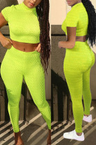 Neon Green Fashion Temperament Short Sleeves Small Weet Wind Two-Piece WME2023