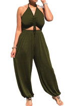 Army Green Summer Womensweear Sexy Gallus Prior To Bind Casual Jumpsuit LD8820