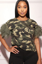 Camouflage Tops Net Yarn Joining Together T-Shirts MLL112
