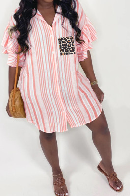 Leopard Print Lotus Leaf Sleeve Stripe Shirt Dress MLL114
