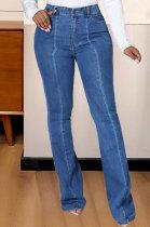 Womenswear Casual Joker Spliced Contrast Color Straight Cultivate One's Morality Jeans JLX6883