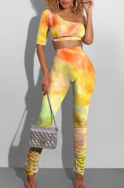 Sexy Fashion Inclined Shoulder Fold Tie Dye Two-Piece MLL101