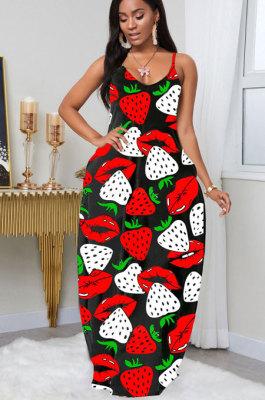 Fashion Printing Sexy Deep V Neck Sling Strawberry Mouth Graphic Dress LIN8806